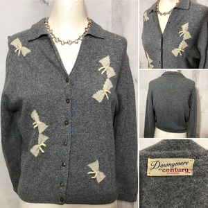 VTG 50's Pin Up Rockabilly Bow Collared Cardigan
